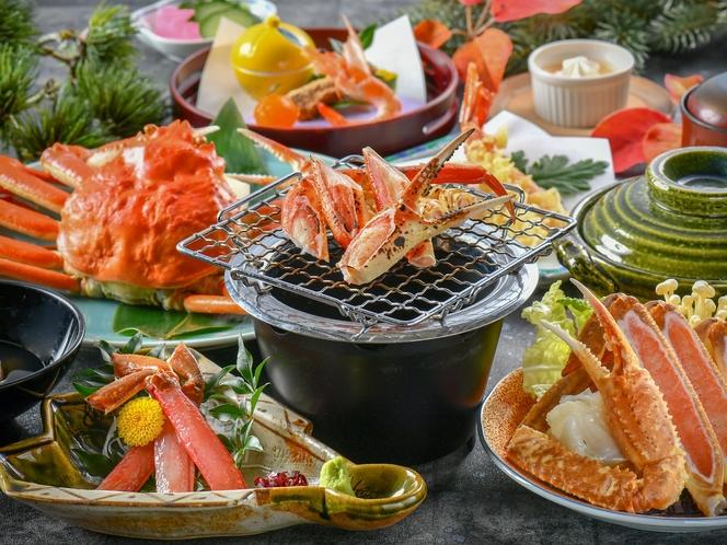 【蟹づくし会席】蟹料理の王道〝蟹刺し・焼き蟹・蟹鍋・蟹天麩羅・蟹茶碗蒸し〟を♪