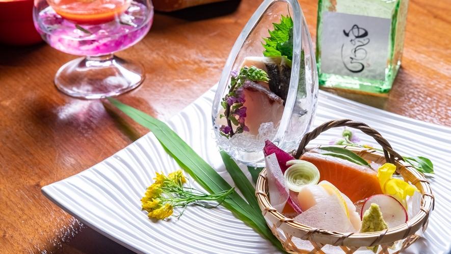 【夕食】刺身一例