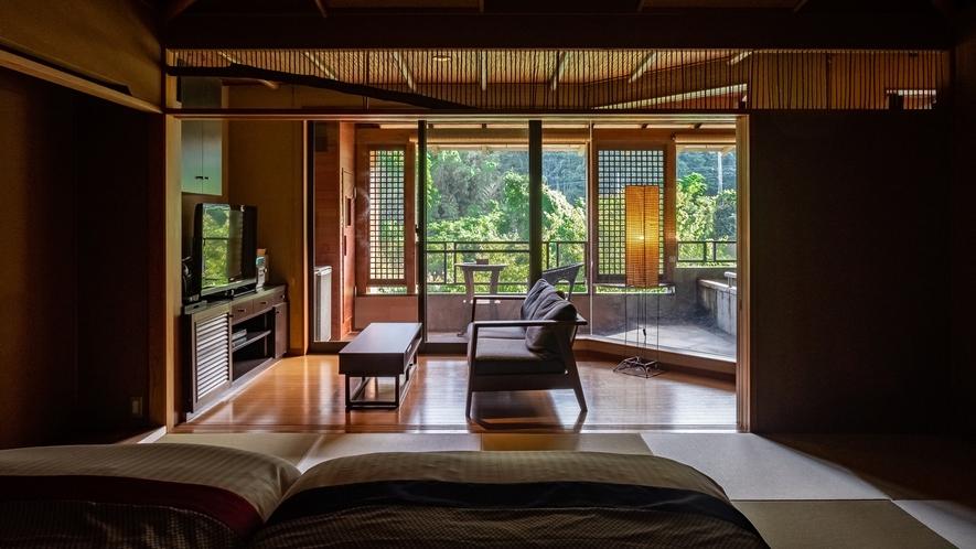 【Gタイプ:漱石】優美で贅沢なしつらえ。客室には温泉かけ流しの露天風呂、サウナがついています。