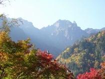 紅葉と錫杖岳