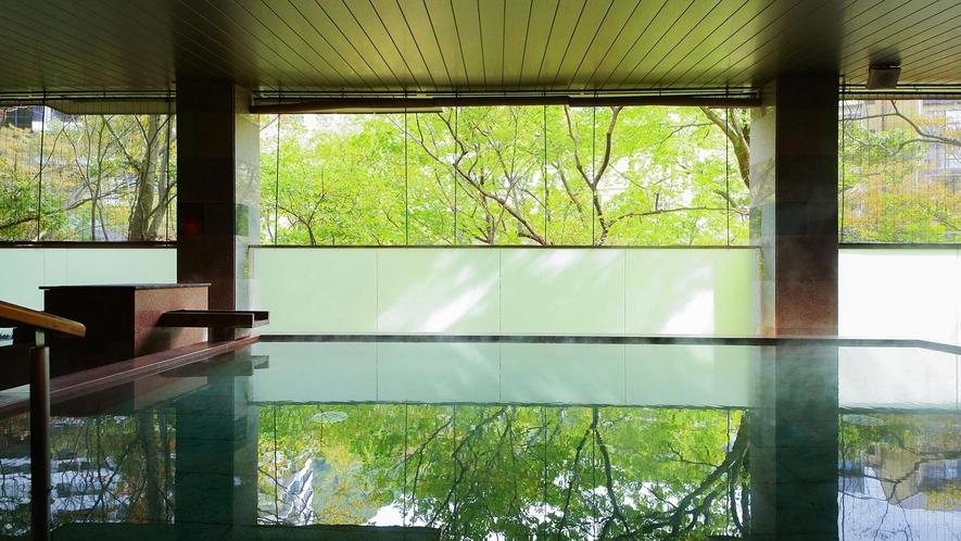 開放感のある半露天で極上の自然浴。多種の浴槽を楽しめます。