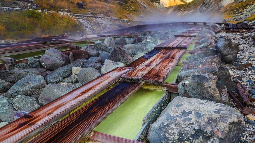 【沼尻元湯】230年の歴史を誇るpH2.1の酸性泉。源泉かけ流しをロッジにてお愉しみください
