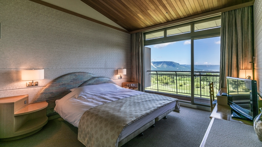 <スイートルーム>ダブルスイートのお部屋 ベッドはクイーンサイズでございます
