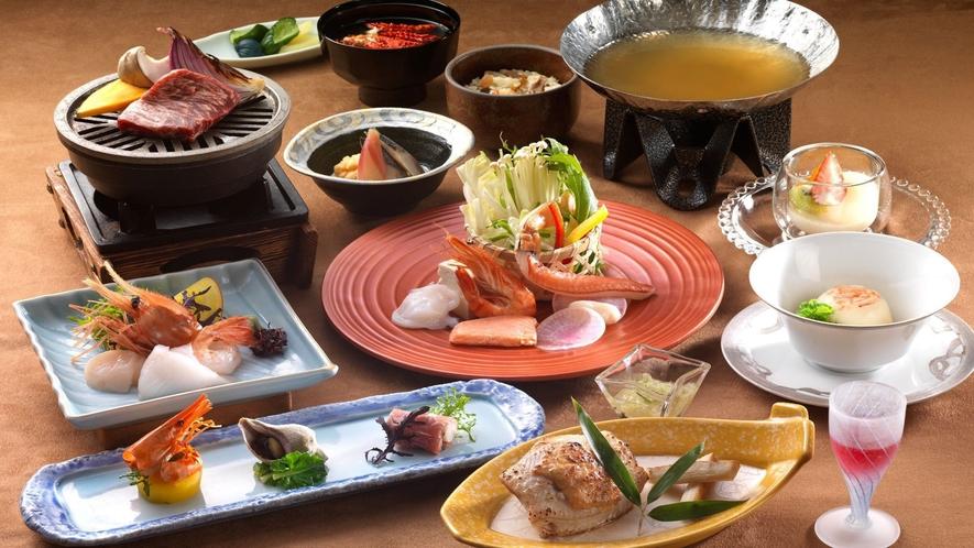 ◆和食会席一例/オホーツクの海の幸や近隣の農産物を中心とした和食会席