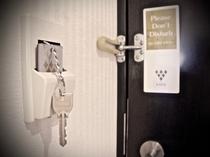 シリンダーキー(電力供給のため、客室入口のポケットにキープレートを入れてください)