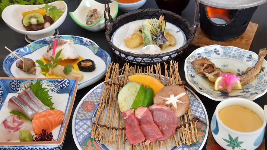 【季節のおまかせ・春秋】季節ごとに替わる会席料理。スタンダードプランの夕食の一例。