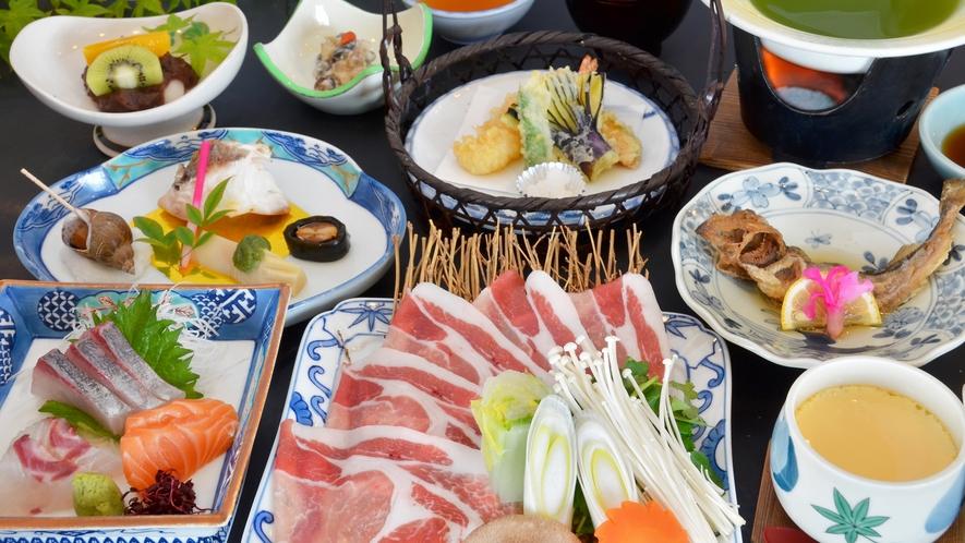 【季節のおまかせ・冬】季節ごとに替わる会席料理。スタンダードプランの夕食の一例。