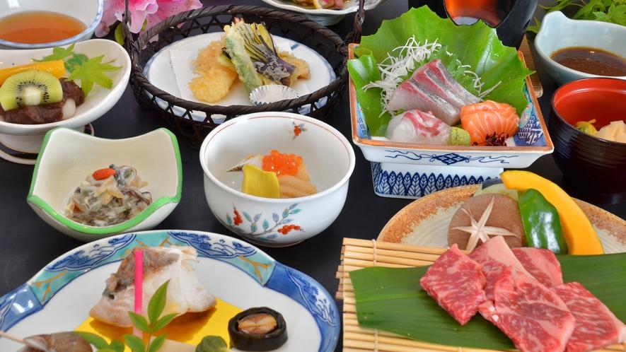 【選べるメイン・牛ステーキ】メインを肉又は魚から、お好みで選べるコース(写真はお肉コース)