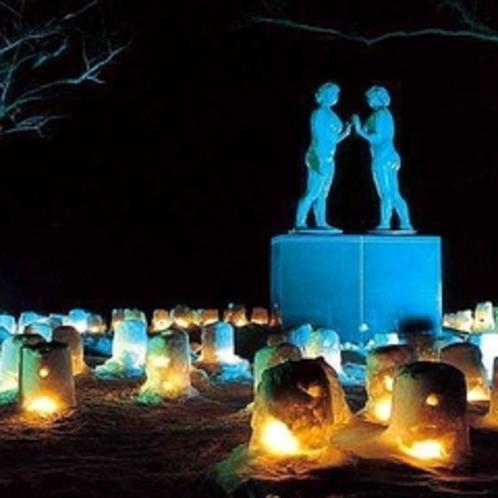 ☆十和田湖冬物語☆灯篭でライトアップされた乙女の像