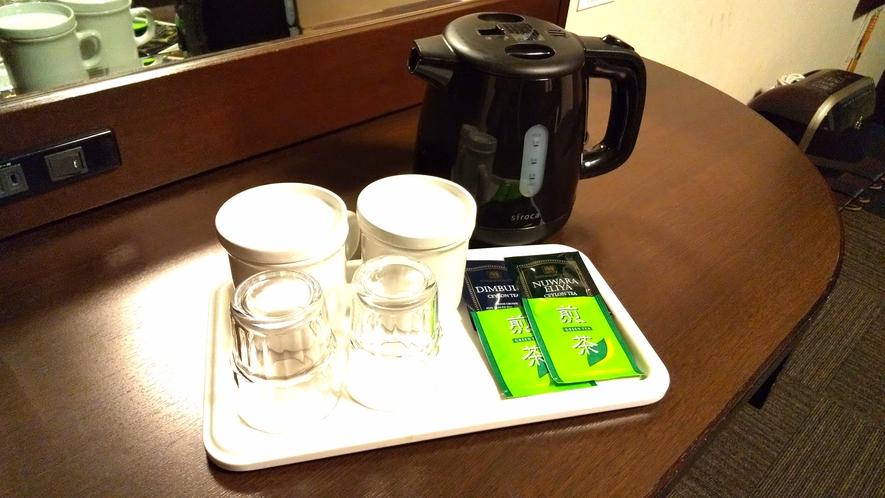 【電気ケトル・紅茶・緑茶】お部屋でティータイムをお楽しみいただけます。