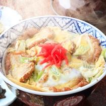 *【油麩丼】登米名物「油麩(あぶらふ)」を使った丼。油麩独特のふわふわとした食感がなんともいえません