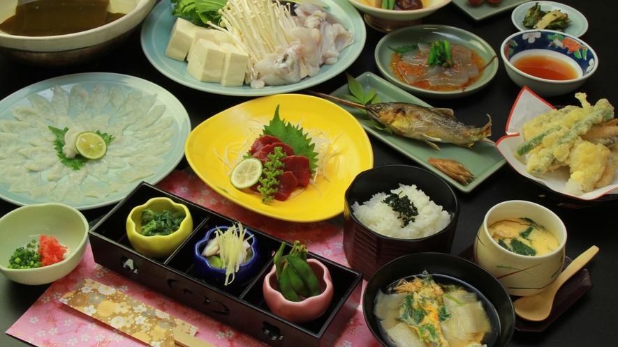 ■【夕食】一例 名物の温泉トラフグ!
