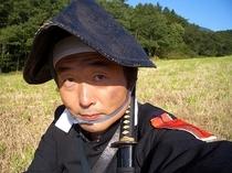 私、オーナーです。NHK新撰組ドラマに官軍役で出た時の衣装です。もちろんエキストラ!ここは撮影多いん