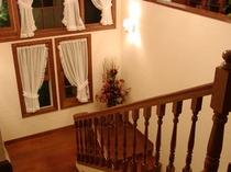 階段はアメリカ製の柔らかい木でゆったりと作りました。階段は建物で最も贅沢な空間、と言われます。