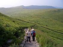 車山トレック。 湿原巡りや草原歩きはあんまり登り下りがないのでシニアにも楽しめます。木道もきれい。