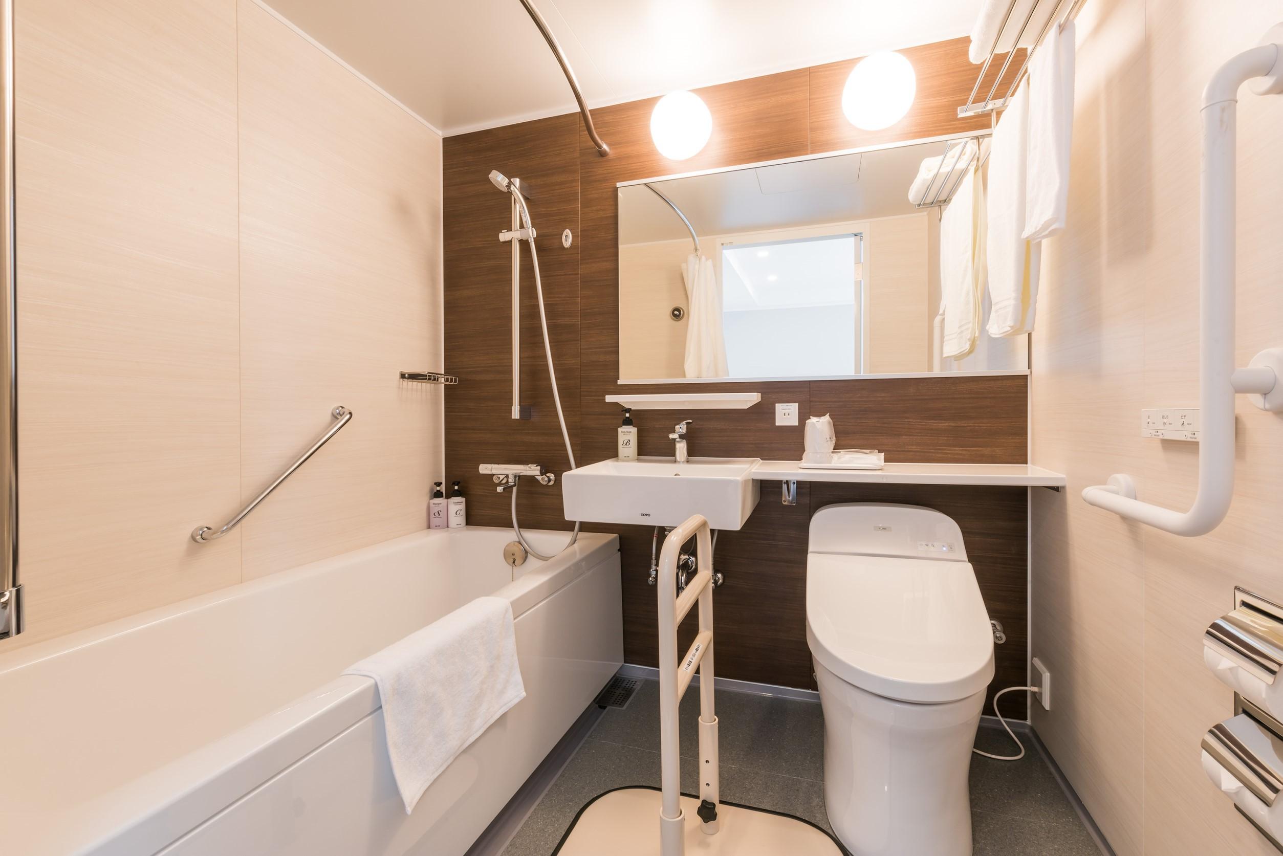 バリアフリールーム・バスルームの一例(手摺ご用意できます)