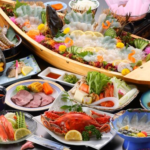 【夕食一例/渡り蟹プラン29年度秋冬】甘みが詰まった渡り蟹を始め、天草自慢の海鮮がふんだんに!