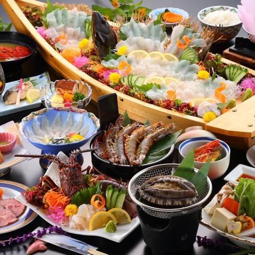 【夕食一例/極み~グレードアッププラン29年度秋冬】伊勢えび、あわび、車海老!天草の海鮮を贅沢に堪能