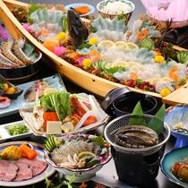【夕食一例/あわびプラン29年度秋冬】海のごちそう<あわび>を刺身で焼きで、贅沢に堪能♪
