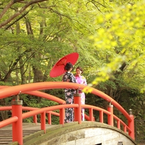 色浴衣で散策、河鹿橋へ(当館から徒歩20分程度)