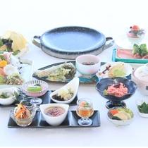 【春の献立】琥珀コース。茨城の肉『常陸牛・奥久慈しゃも・美明豚』を石焼で。新鮮な御造里も♪