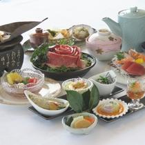【冬メニュー:雅コース】 茨城のブランド常陸牛の味噌鍋、あんこうの朴葉焼き、イナダ胡麻茶漬けなど