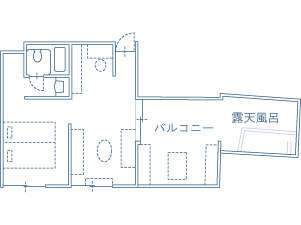 Tルーム平面図(室内面積 32.3m2/露天風呂+バルコニー 19.38m2)