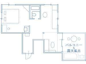 Cルーム平面図(室内面積 38.10m2/露天風呂&バルコニー 11.03m2)