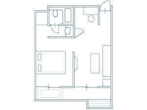 Sルーム平面図(室内面積 32.3m2/露天風呂 5.46m2 ※ベンチ部除く)