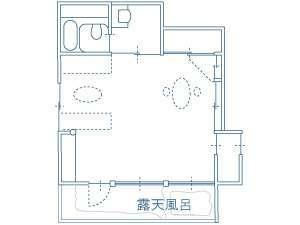 Laルーム平面図(室内面積 31.50m2/露天風呂 8.25m2)