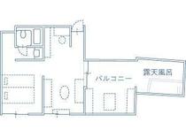 Tルーム平面図(室内面積 32.3㎡/露天風呂+バルコニー 19.38㎡)