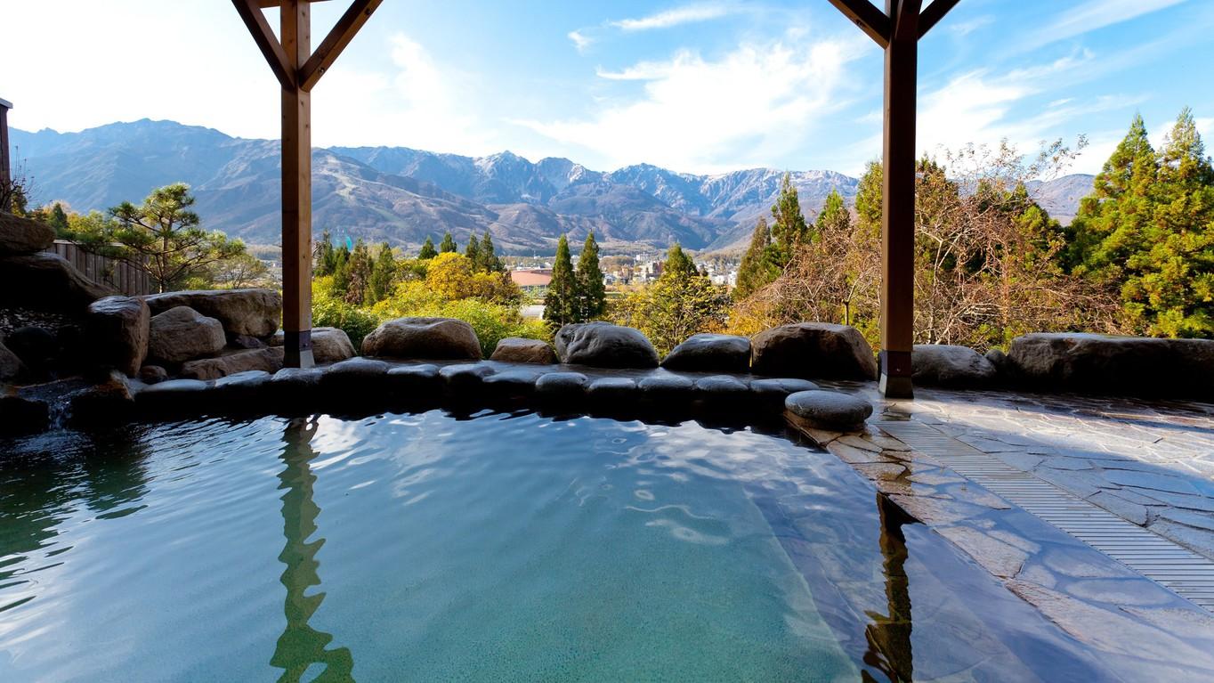【天神の湯】露天風呂の楽しみ方(1)仁王立ちして、山に向かってゆっくり深呼吸してみましょう