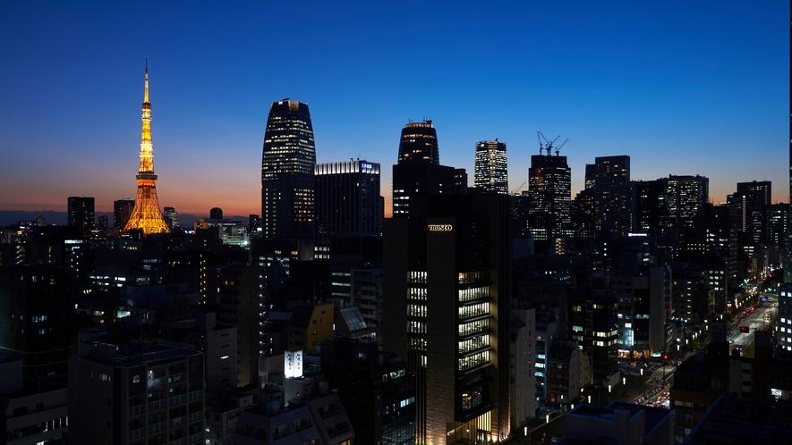 12階以上の高層階からの東京タワーの夜景 スーペリアシングル・ダブルルームから