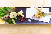 料理一例 北海道産八角唐揚げ トリュフ塩 マイクロトマト 獅子唐 ホワイトアスパラピクルス