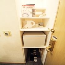 スタンダード ツインルーム ラックと冷蔵庫