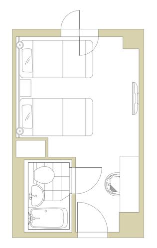 ハリウッドツイン16〜18㎡【シングルベッド2台】平面図