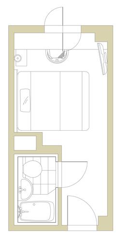 1ベッドルーム15㎡(160cm幅クイーンベッド)平面図