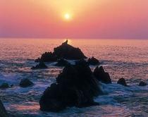 漁火温泉付近の夕日