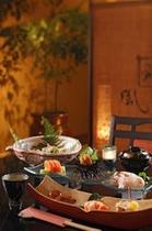 旬の食材を多く使用した創作料理 露天風呂付客室 一例