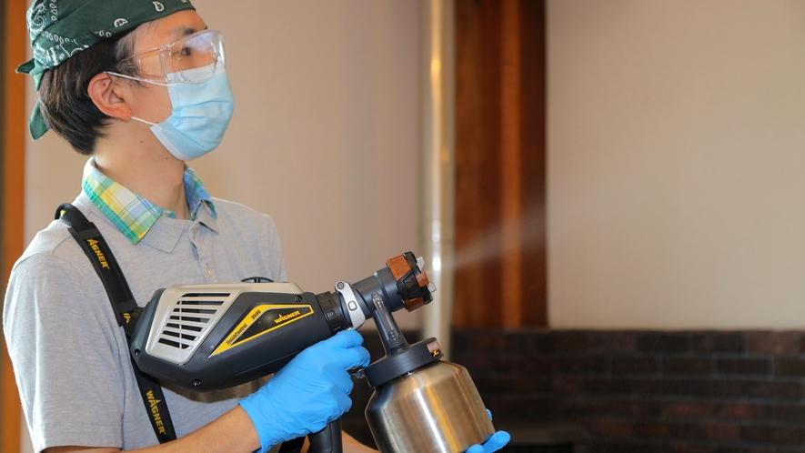 【パブリックスペースでの取り組み】噴霧器による次亜塩素酸水消毒