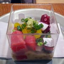 ぶつ切り刺身とふわふわ納豆≪「ゆきむら」創作料理≫