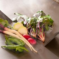 [鉄板焼きコース]有機野菜もそのまま、野菜本来の旨みを感じる