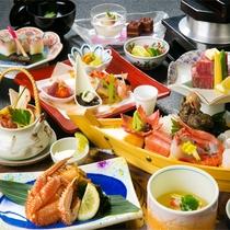 ◆ご夕食◆『蟹』と『ステーキ』が両方食べられるのが人気の会席♪おなか一杯召し上がれ♪