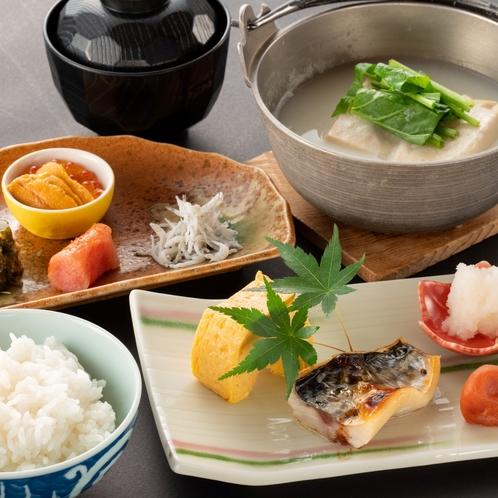 温泉湯豆腐が美味しい朝食