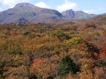 屋上から見た秋の茶臼岳