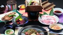 山賊プラン全体_伝統のある料理に天栄湯のアレンジを加えたお料理コースです。