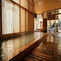 【大浴場内湯②】 *やわらかいと感じるお湯と檜の香りをご堪能ください