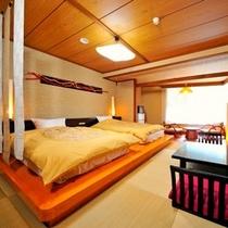 和モダンベッド客室。2名定員ですが写真の部屋でしたら布団を1枚敷くことも可能ですのでご相談くださいま