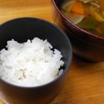 ご飯「みなかみ産コシヒカリ」/留椀「ちぎりっこ椀」