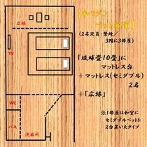 和モダンベット客室レイアウト図一例。